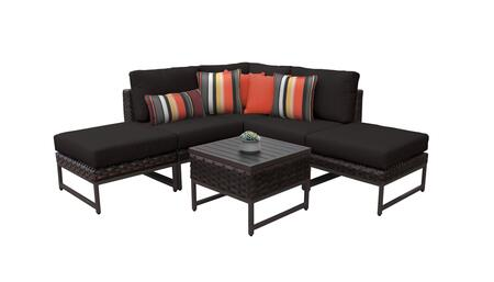 Barcelona BARCELONA-06b-BRN-BLACK 6-Piece Patio Set 06b with 1 Corner Chair  2 Armless Chairs  2 Ottomans and 1 End Table - Beige and Black Covers