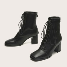 Square Toe Lace-up Front Boots