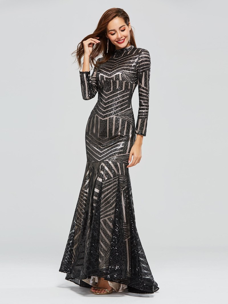 Ericdress High Neck Black Sequin Long Sleeve Evening Dress