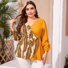 Plus Paisley Print Roll-up Sleeve Blouse