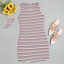 Striped Sleeveless Mini Bodycon Dress