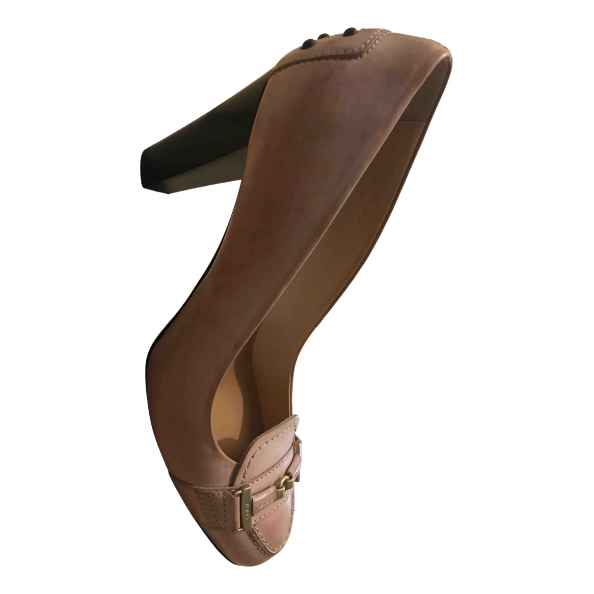 Tod's N Pink Leather Heels for Women 38 IT