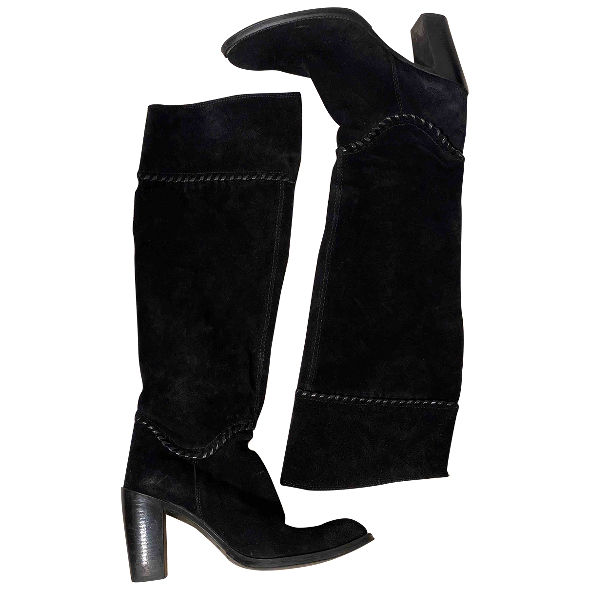 Non Signé / Unsigned \N Black Suede Boots for Women 38 EU