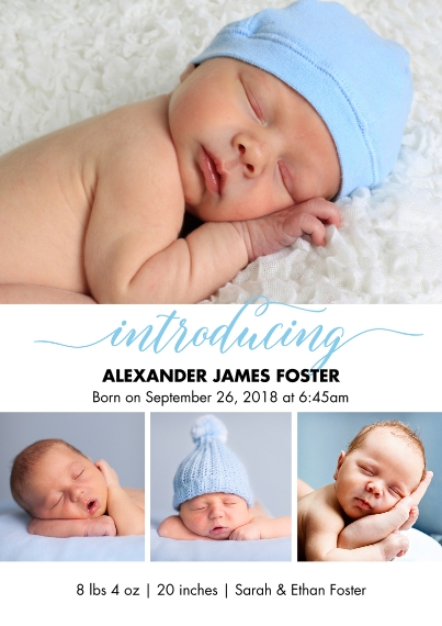 Baby Boy Announcements 5x7 Cards, Premium Cardstock 120lb with Scalloped Corners, Card & Stationery -Baby Blue Introducing