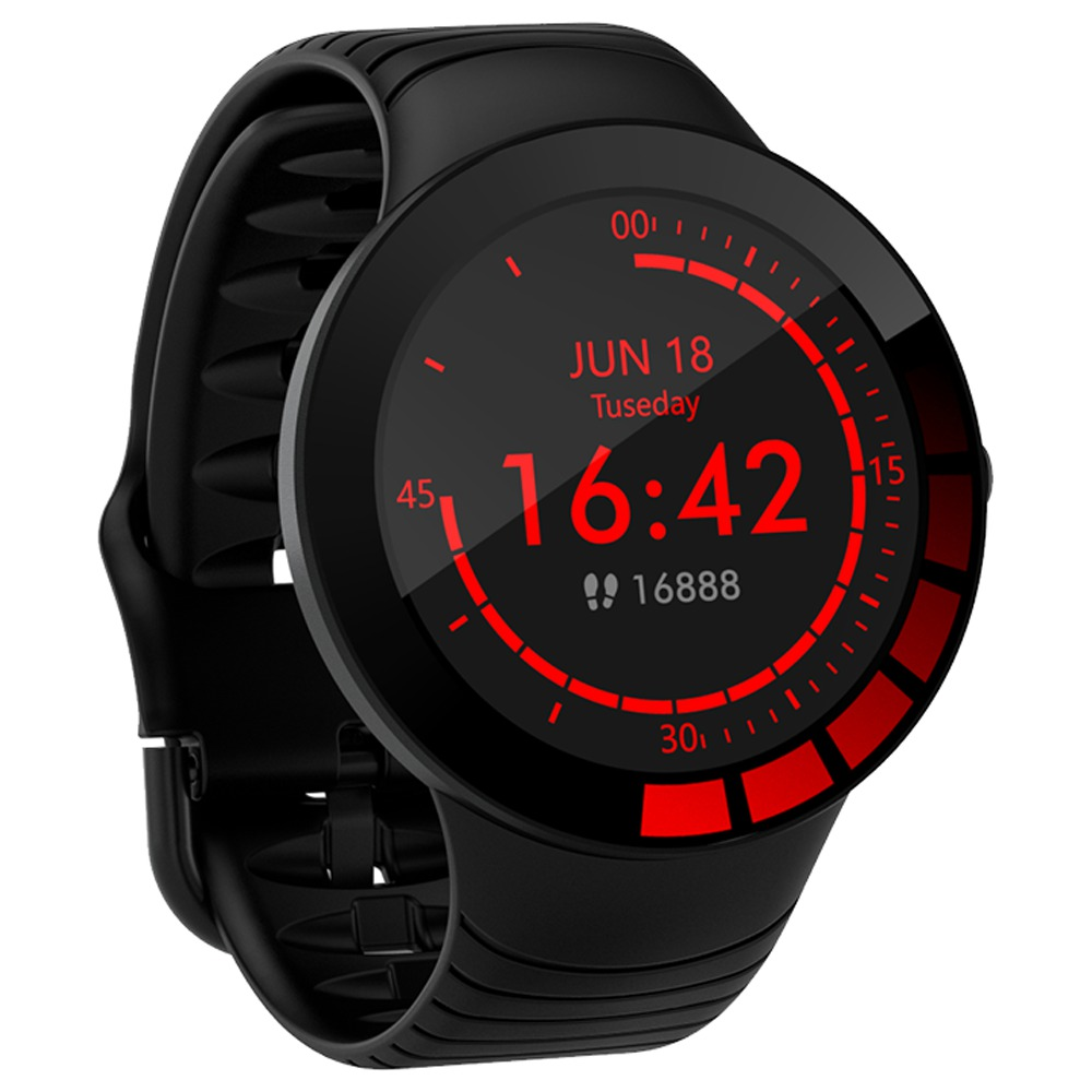 Makibes E3 Smart Watch 1.28 Inch IPS Screen IP68 Heart Rate Blood Pressure Monitor TPU Strap - Black