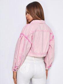 Button Front Drop Shoulder Crop Denim Jacket