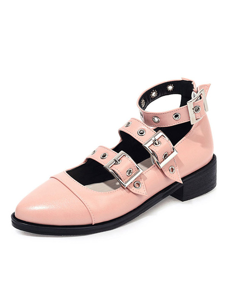Milanoo Zapatos de tacon bajo vintage con puntera academica Mary Jane Black Pumps Zapatos de mujer