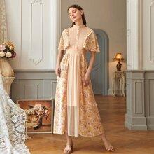Aprikosenfarben Knopfe  Gebluemt  Elegant Kleider