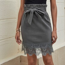 Paperbag Waist Belted Lace Hem Skirt