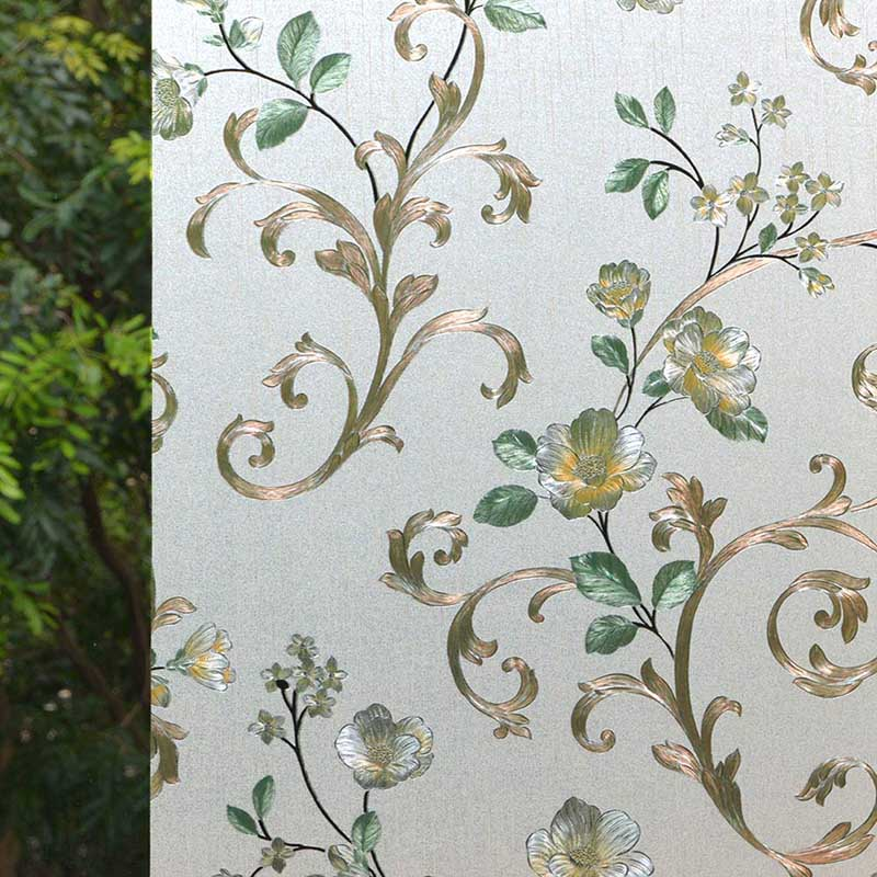 Floral Window Film Stained Glass Self Static Cling for Home