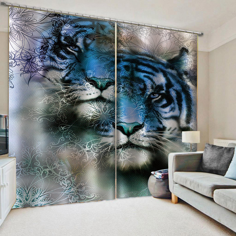 Modern 3D Tiger Blackout Decoration 2 Panels Curtain Drapes for Living Room No Pilling No Fading No off-lining