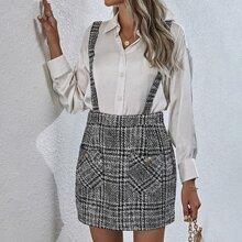 Plaid Tweed Pinafore Skirt
