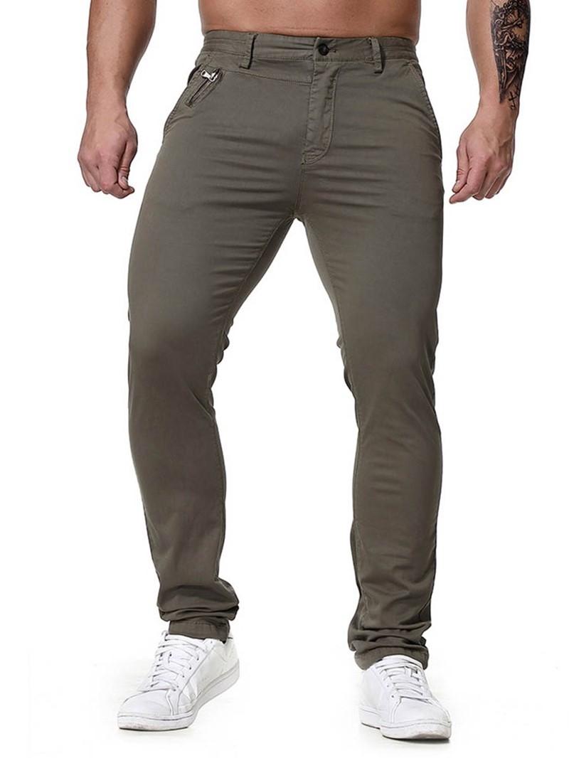 Ericdress Plain Button Four Seasons Zipper Mens Casual Pants