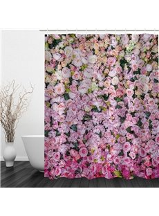 3D Pink and Yellow Flowers Printed Polyester Waterproof Antibacterial and Eco-friendly Shower Curtain