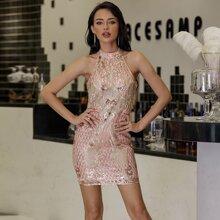 Yilibasha Embroidery Sequin Halter Dress