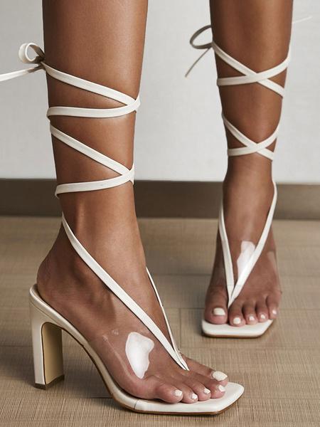 Milanoo High Heel Sandals Women Thong Lace Up Chunky Heel Sandal Shoes