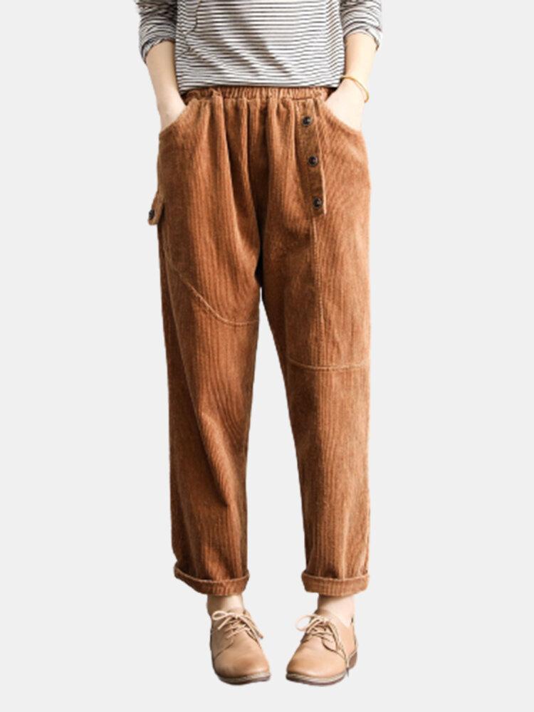 Solid Color Elastic Waist Pocket Corduroy Pants For Women