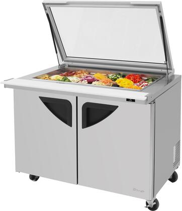 TST-48SD-18-N-GL 49 Super Deluxe Series Mega Top Glass Lid Sandwich/Salad Prep Table with 15 cu. ft. Capacity  18 Pans  Self-Cleaning Condenser and