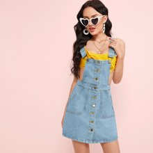 Button Front Slant Pocket Overall Dress