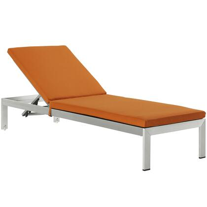 Shore Collection EEI-2660-SLV-ORA 76 Outdoor Patio Chaise with Anodized Aluminum Frame  Textilene  Mesh and Woven PVC Coated Polyester in Silver and