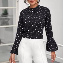 Bell Sleeve Polka Dot Ruched Front Top