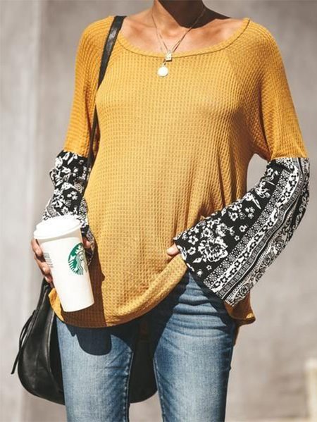 Yoins Floral Patchwork Round Neck Long Sleeves Sweater