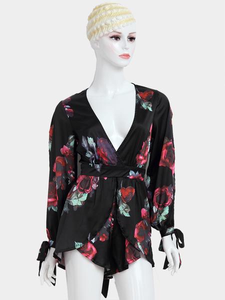 Yoins Random Floral Print Plunging Neckline Keyhole Back Slit Sleeves Playsuit