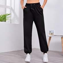 Drawstring Waist Solid Sports Pants