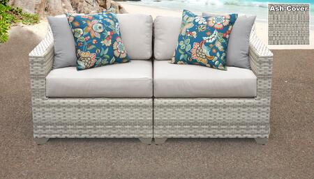 Fairmont Collection FAIRMONT-02a-ASH 2-Piece Patio Wicker Loveseat with Left Arm Chair and Right Arm Chair - Beige and Ash