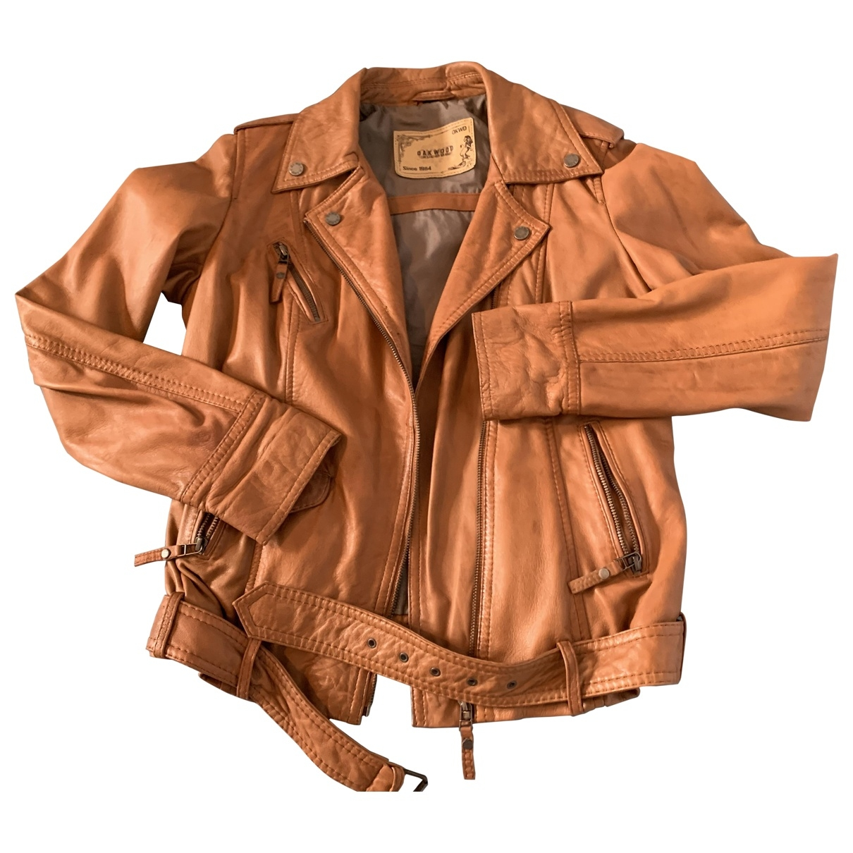 Oakwood \N Camel Leather Leather jacket for Women M International