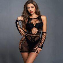 Figurbetontes Kleid mit Hohle & 1 Paar Armelschutz
