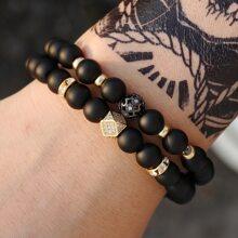 2 Stuecke Maenner Armband mit Srass Detail und Perlen
