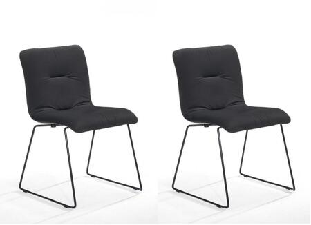 Modrest Yannis Collection VGMAMI-913-DK-GRAY Set of 2 Dining Chairs with Black Metal Legs  Waterfall Seat Edge  Modern Style and Velvet Fabric