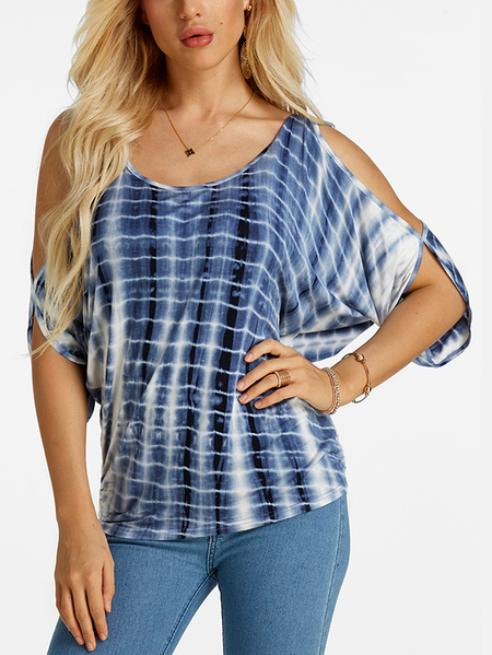 Yoins Blue Tie Dye Cold Shoulder Tie-up at Back Tee