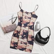 Stitch Trim Cloud Print Bodycon Dress