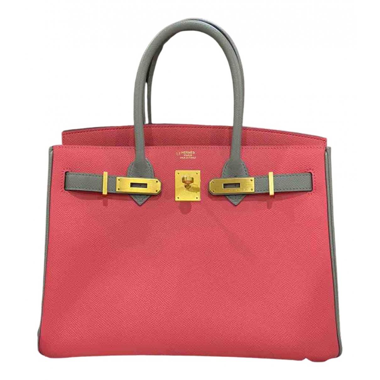 Hermes - Sac a main Birkin 30 pour femme en cuir - rose