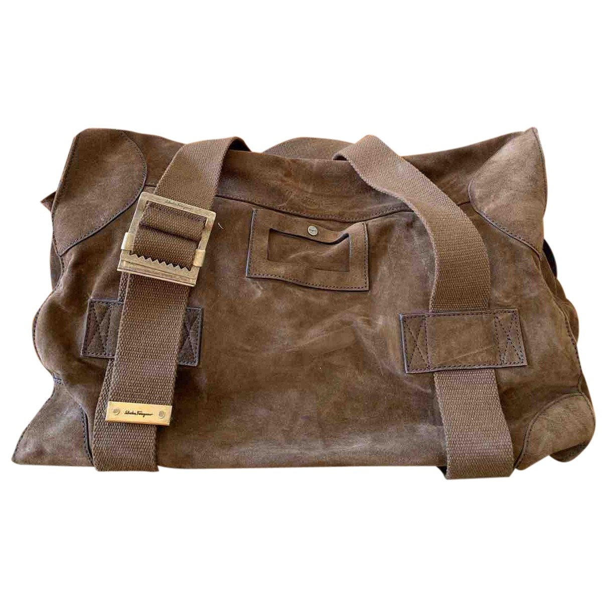 Salvatore Ferragamo \N Brown Suede bag for Men \N