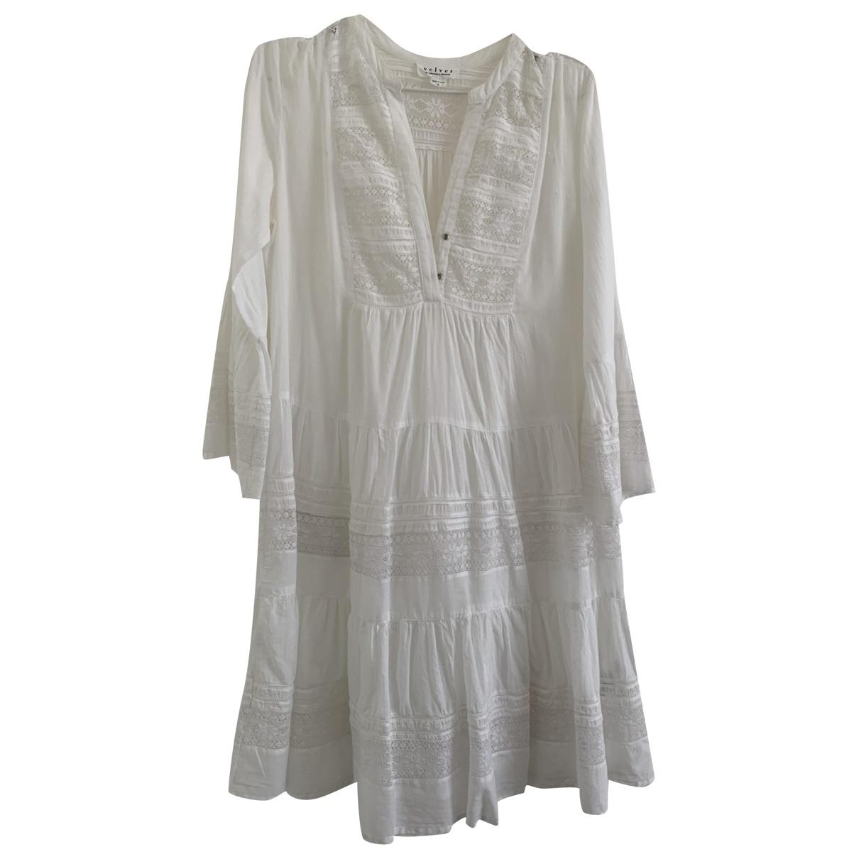 Velvet \N Kleid in  Weiss Baumwolle