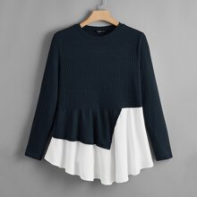 Plus Two Tone Asymmetrical Hem Rib-knit Top