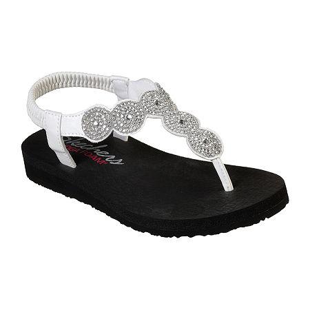 Skechers Womens Meditation - Stars Sparkle Flip-Flops, 6 Medium, White