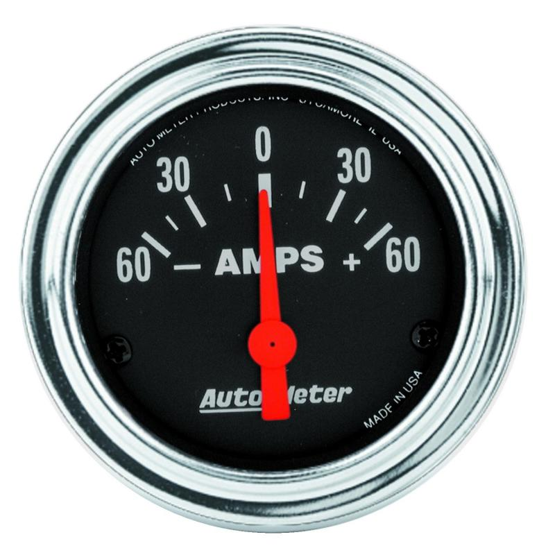 AutoMeter GAUGE; AMMETER; 2 1/16in.; 60A; ELECTRIC; TRADITIONAL CHROME