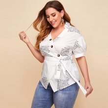 Plus V-collar Puff Sleeve Slogan Graphic Belted Top