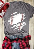 Baseball O-Neck Short Sleeve T-Shirt Tee - Gray