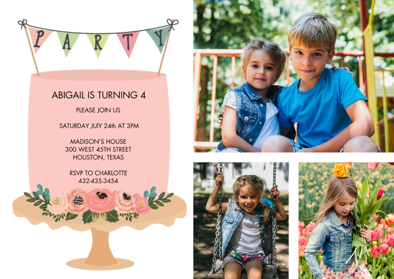 Kids Birthday Party 5x7 Cards, Standard Cardstock 85lb, Card & Stationery -Party Invite Cake Banner by Tumbalina