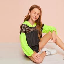 Girls Fishnet Insert Neon Lime Panel Wind Hoodie & Shorts Set