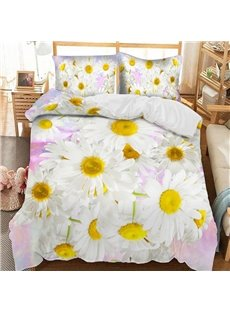 Elegant White Daisy Soft 3D Printed Polyester 3-Piece Bedding Sets/Duvet Covers