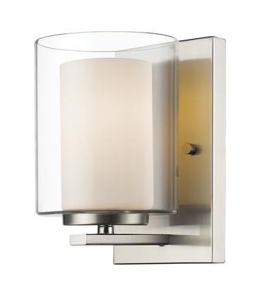 Willow 426-1S-BN 4.5 1 Light Wall Sconce Contemporary  Metropolitanhave Steel Frame with Brushed Nickel finish in Clear Outside; Matte Opal