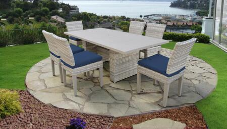 Fairmont Collection FAIRMONT-DTREC-KIT-6C-NAVY Patio Dining Set With 1 Table  6 Side Chairs - Beige and Navy