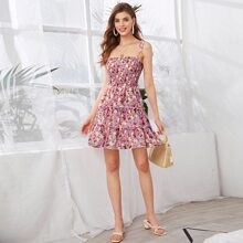 Knot Straps Shirred Bodice Floral Layered Sundress