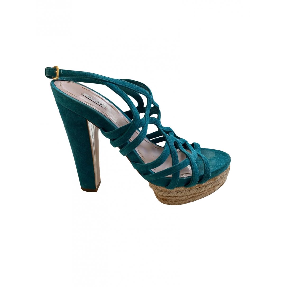 Miu Miu - Sandales   pour femme en suede - turquoise